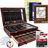 US Art Supply 162 Piece-Deluxe Mega Wood Box Art, Painting & Drawing Set that contains all the additional supplies you…