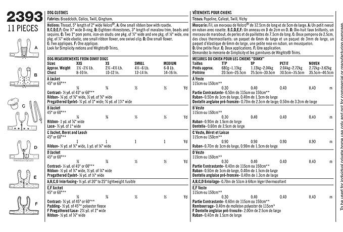 Simplicity 2393 - Patrones de costura para hacer ropa de perro (tallas XXS, XS, S y M): Amazon.es: Hogar