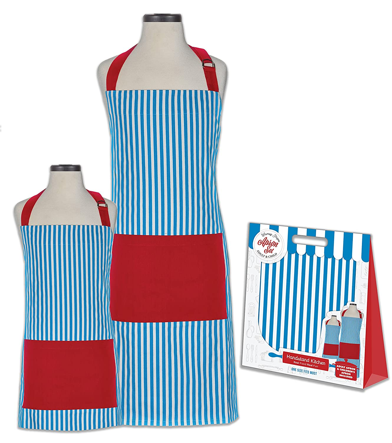 Handstand Kitchen Adult and Child Whimsy Stripe 100% Cotton Apron Gift Set