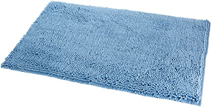 AmazonBasics Anti-Slip Microfiber Bathroom Mat - Lake Blue - 21 x 34