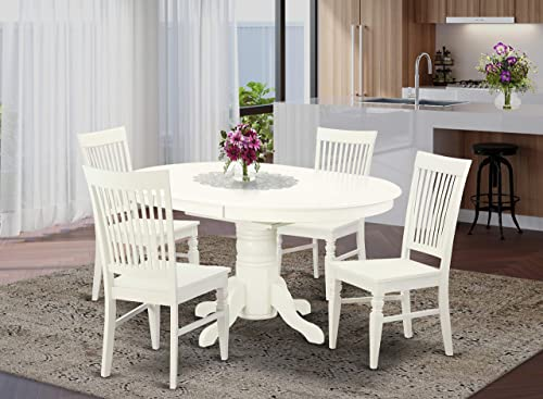 East West Furniture modern set 4 Excellent room chairs-A Attractive mid-century dining Linen White Color Wooden Seat Butterfly Leaf wood table
