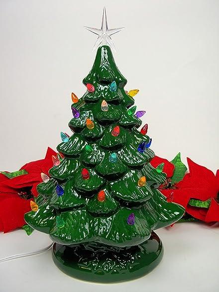14 retro prelit ceramic tabletop christmas tree with 52 multicolored lights - Amazon Christmas Tree