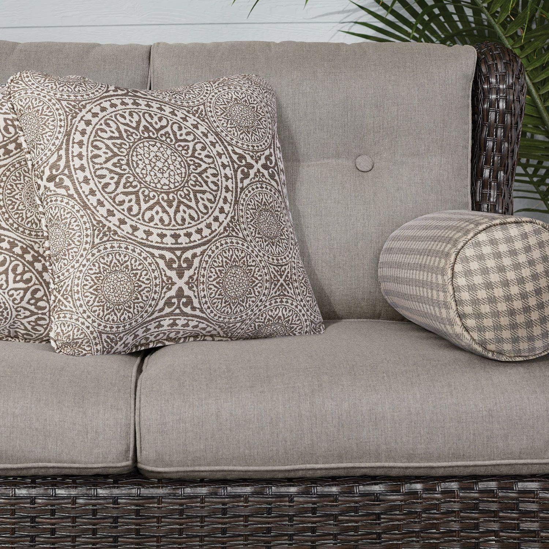 Amazon com agio outdoor patio handwoven all weather wicker 6pc seating set w sunbrella cushions garden outdoor