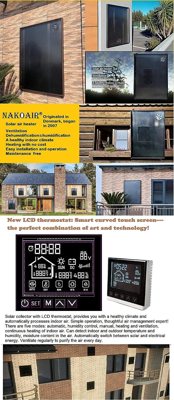 Nakoair R/échauffeur dair Solaire collecteur OS20 520W Conditionneur Ventilateur dextraction S/écheur Panneau de Chauffage despace D/éshumidificateur Ventilation Pompe /à Chaleur