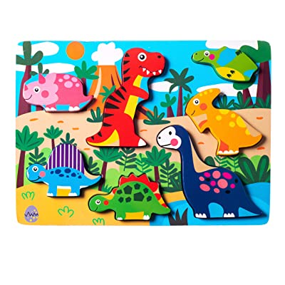 Eliiti Wooden Dinosaurs Chunky Puzzle for Toddlers 2 to 4 Years Old Boys Girls Developmental Toy: Toys & Games