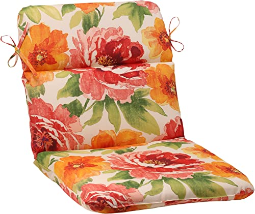 Pillow Perfect Outdoor Indoor Muree Primrose Round Corner Chair Cushion, 40.5 x 21 , Orange