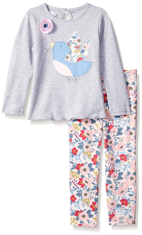 Mud Pieベビー女の子花柄チュニックとレギンスTwo Piece Playwearセット X-Small Floral Gray B01H96VVZK
