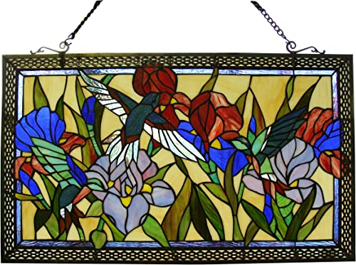 Fine Art Lighting 28 x17 Stained Glass Window Panel, 28 by 17-Inch