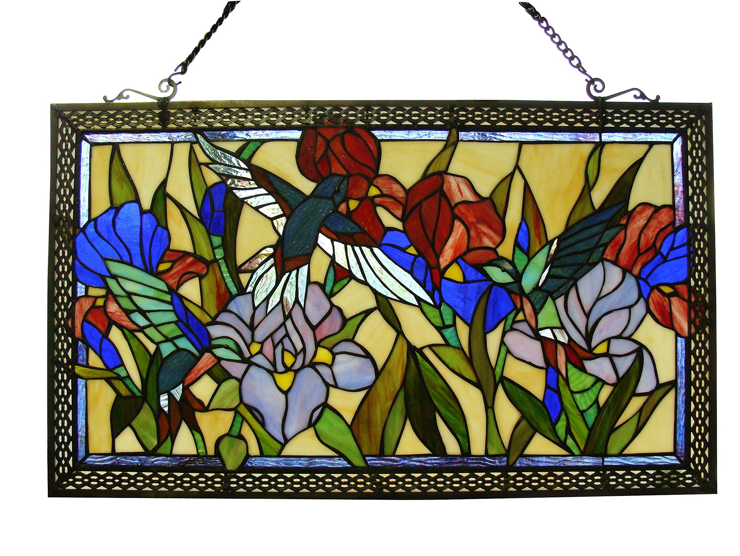 Fine Art Lighting Tiffany Window Panel, 28 by 17-Inch, 363 Glass Cuts