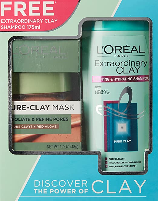 e71e9ec8f04 Buy L'Oreal Paris Pure Clay Mask, Red Algae, 48g with Extraordinary Clay  Shampoo, 175ml Online at Low Prices in India - Amazon.in