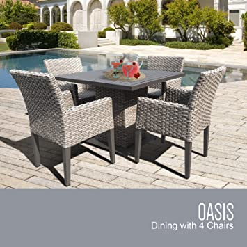 TK Classics Oasis Square Outdoor Patio Dining Table With 4 Chairs, 21u0026quot;  X 31u0026quot