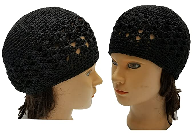 Image Unavailable. Image not available for. Color  BUNFIRE Black Threaded  Skull Cap Chemo Kufi Beanie Hats and Under Hat Helmet Turban Liners Bikers bf50c1041c27