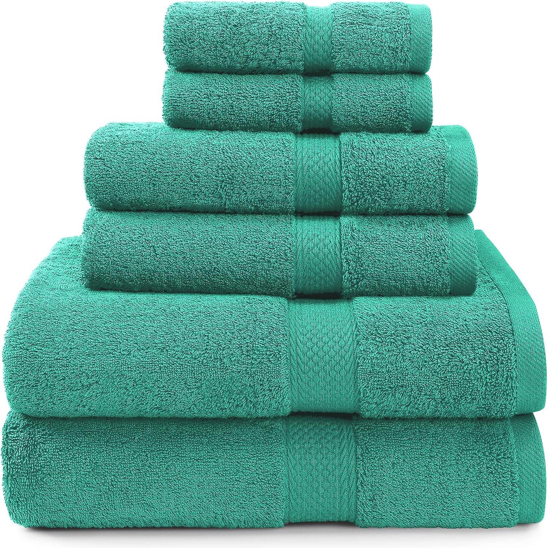 Isbasa 100% Cotton, 630GSM Bath Towel Sets, Soft Luxury, 2 Bath Towels, 2 Hand Towels, 2 Washcloths (Aqua)