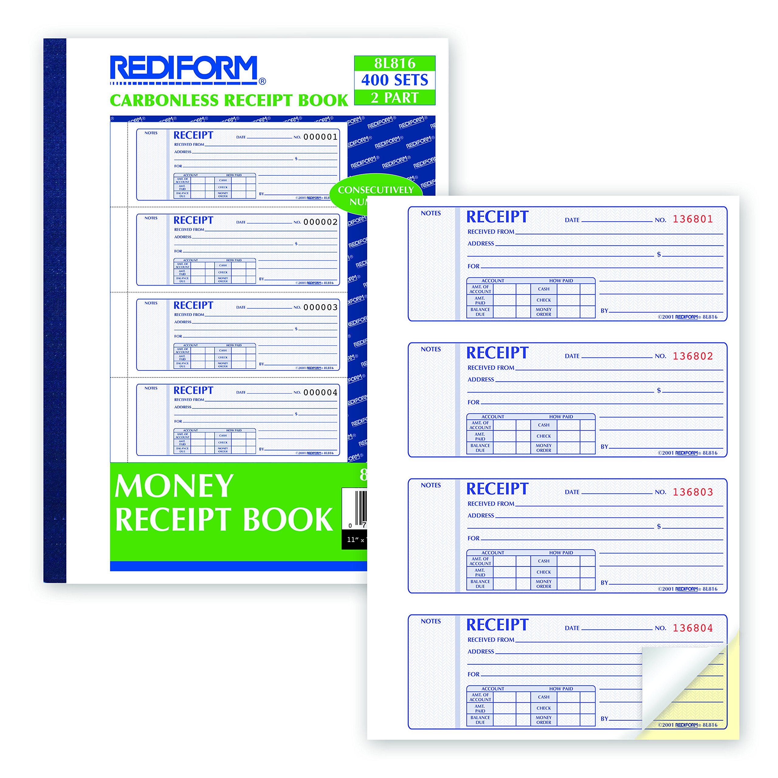 REDIFORM Money Receipt Books Black Print Carbonless, Duplicate, 400 Sets per Book (8L816) by Rediform (Image #3)