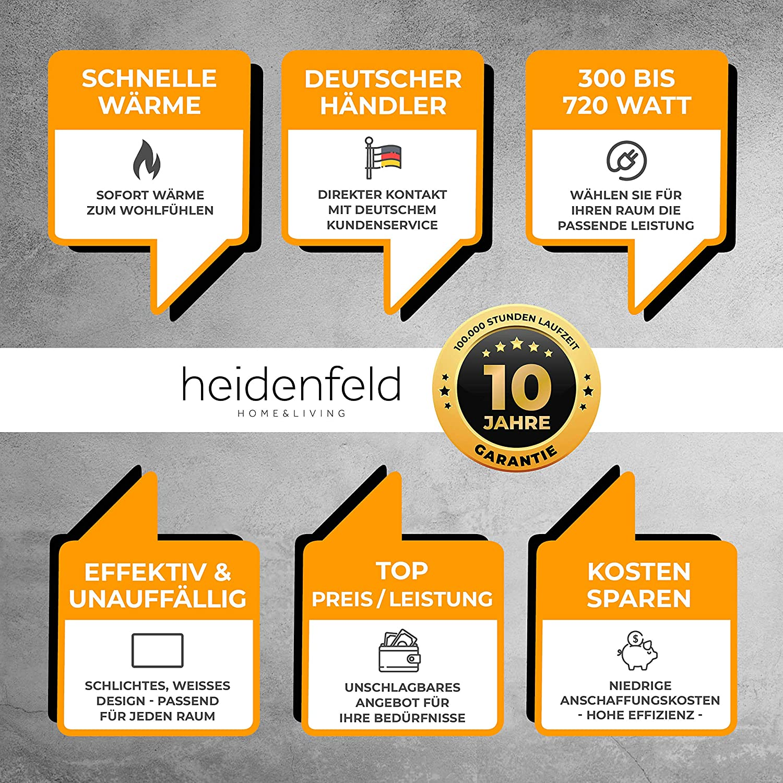 F/ür 12-19 m/² R/äume 720 Watt T/ÜV GS Deutsche Qualit/ätsmarke Heidenfeld Infrarotheizung HF-HP100 720 Watt Wei/ß 10 Jahre Garantie