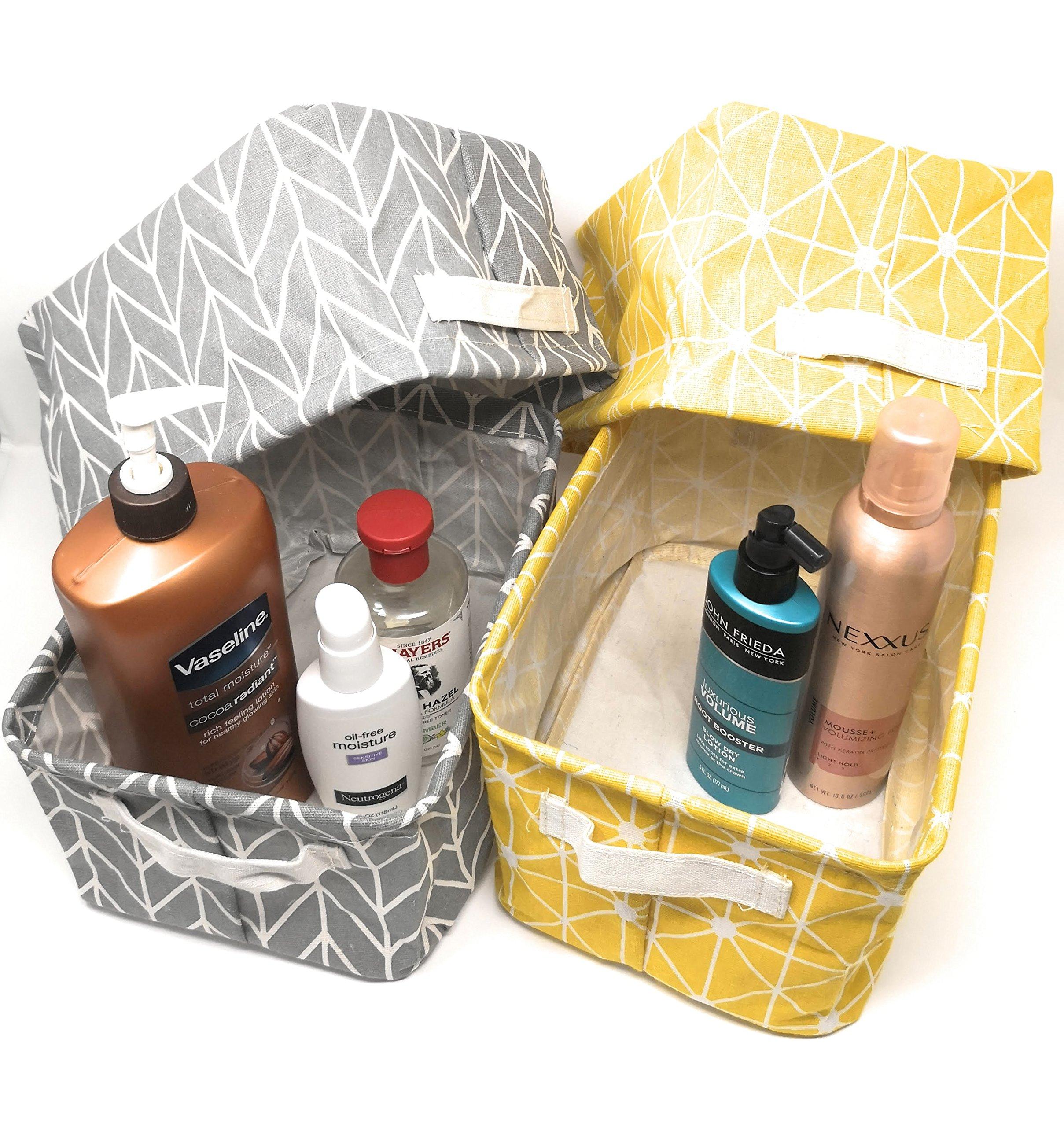 ECOHIP 4-Pack Small Storage Bins Fabric Desk Organizer Baskets Closet Drawer Divider Grey