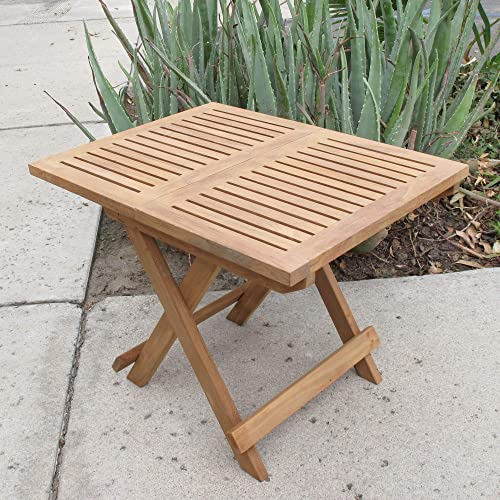 Natural Teak Folding Picnic End Side Table