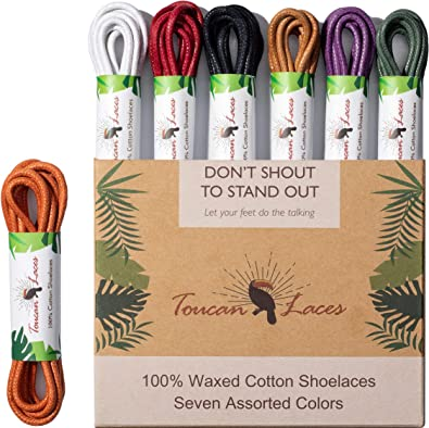 2 Pairs, 4 Laces Wax Shoe Laces Round Waxed Shoestrings Strings Shoelaces