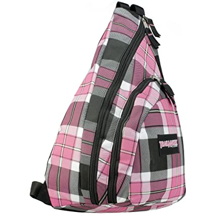 Amazon.com | Pink Plaid Classic Crossbody Messenger School Book ...