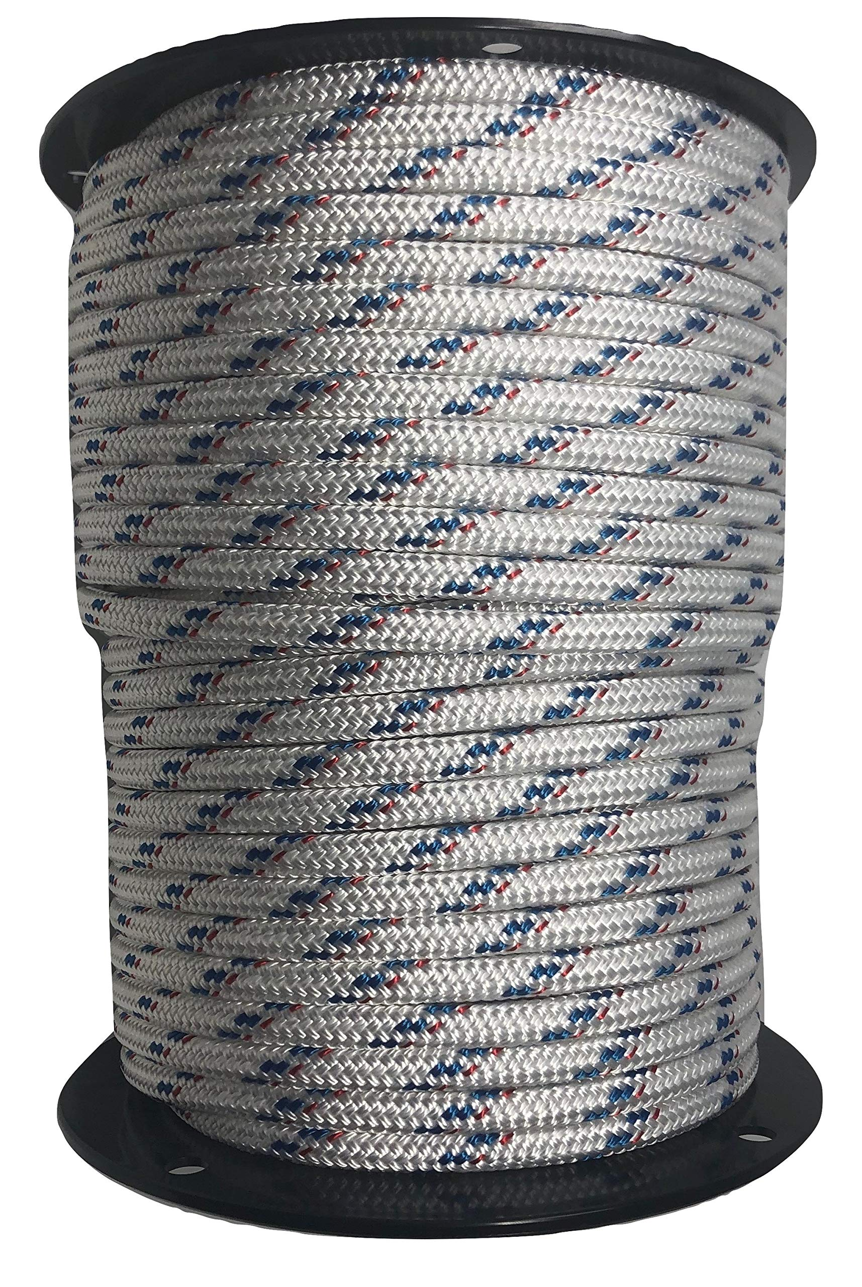 7/16'' Double Braid/Yacht Braid Premium Polyester Halyard Rigging Line, White/Blue with Red Fleck (100)