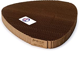 Americat Company Made in The USA Cat Scratcher Pad – Heavy, Sturdy, Durable, Built to Last – Corrugated Cardboard Cat Scratching Pad Lounger Available in 4 Shapes