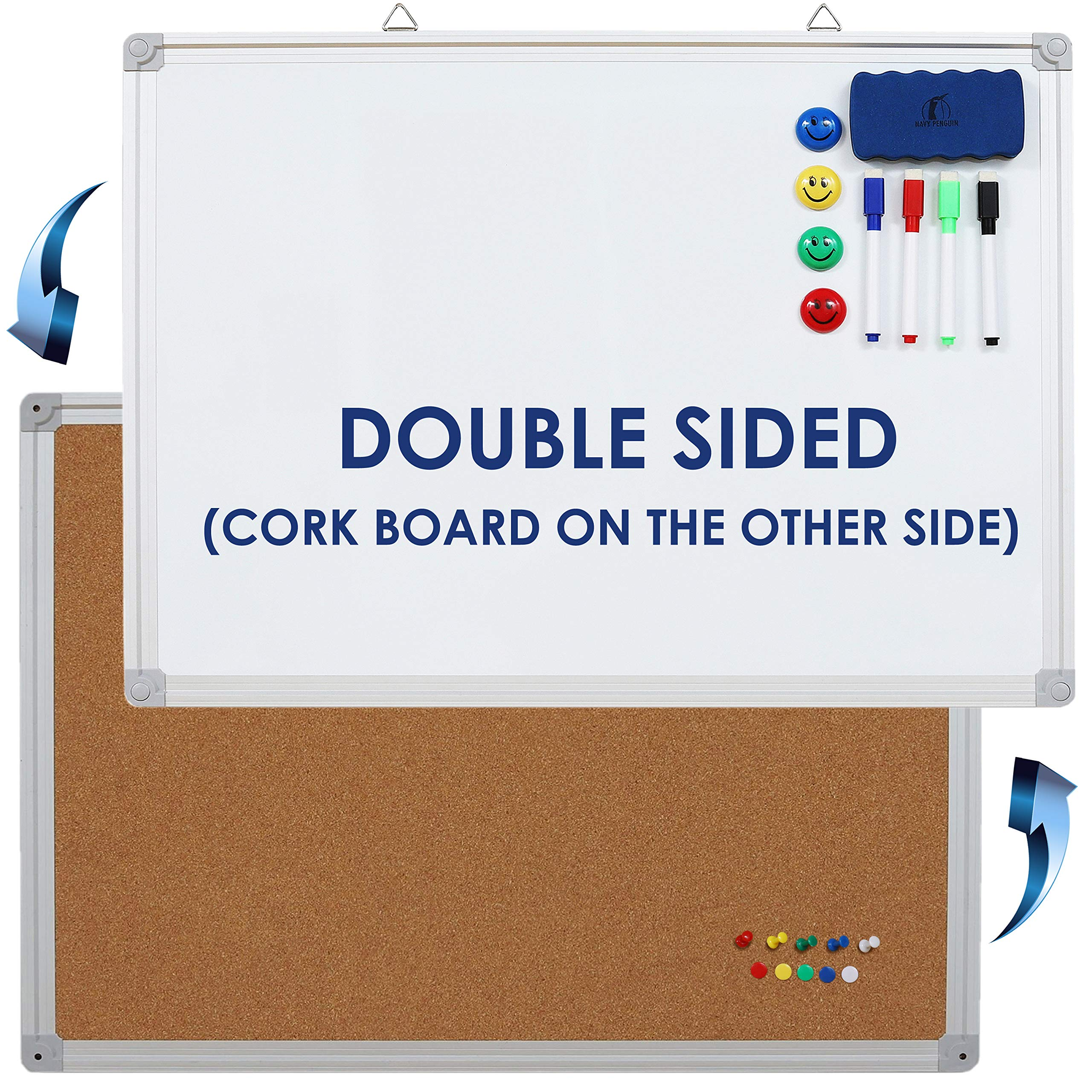 Whiteboard/Cork Board Set Double Sided - 24 x 18'' Dry Erase White Board/Bulletin Board + 1 Magnetic Eraser, 4 Markers, 4 Magnets and 10 Pins - Small Combination Tack Board for Home and Office
