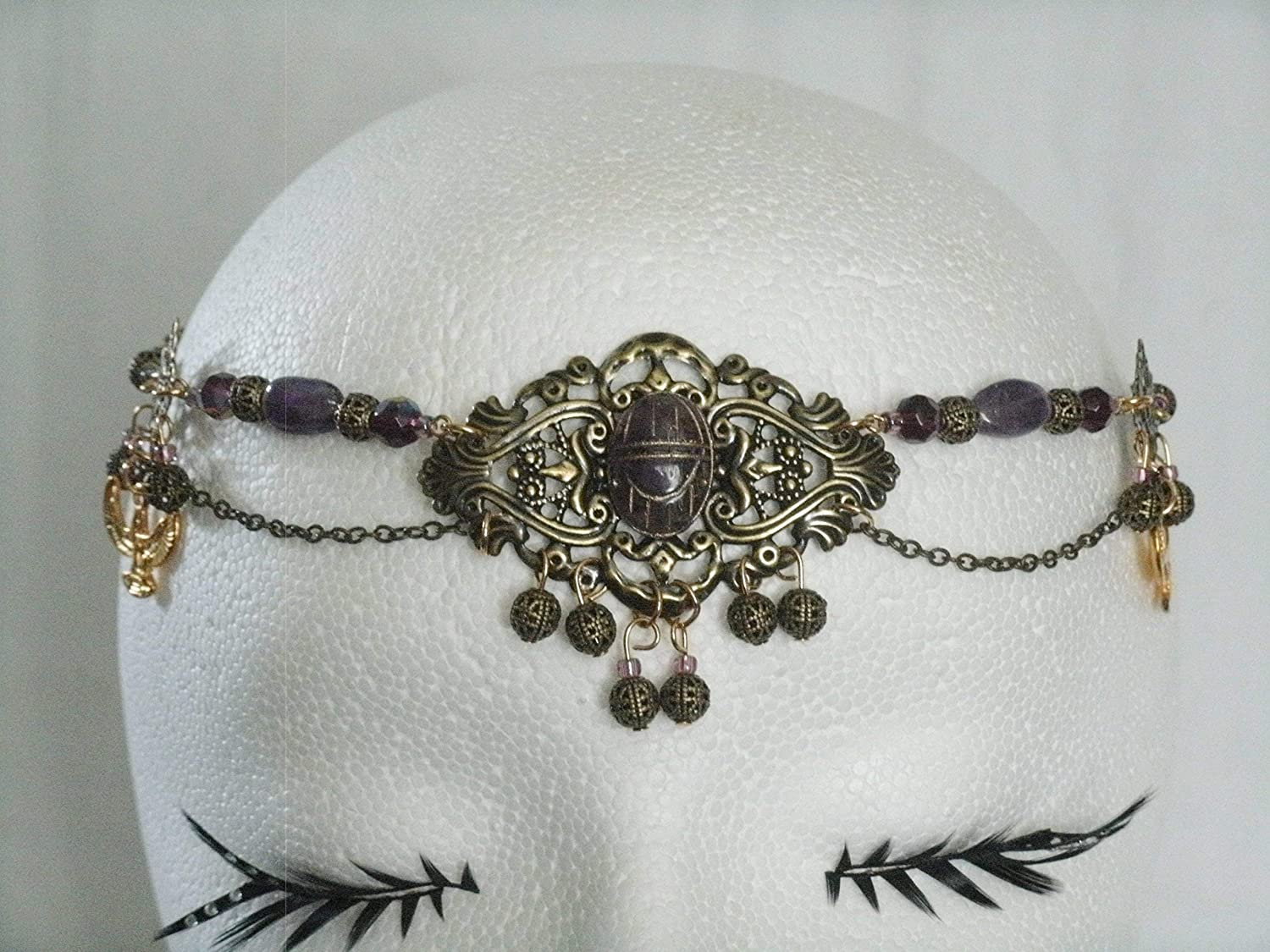 Scarab Amethyst Circlet handmade jewelry wiccan pagan wicca witch witchcraft metaphysical goddess headpiece