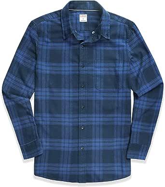 Dubinik® Camisa de franela a cuadros para hombre, ajuste normal, manga larga, para el tiempo libre azul oscuro S