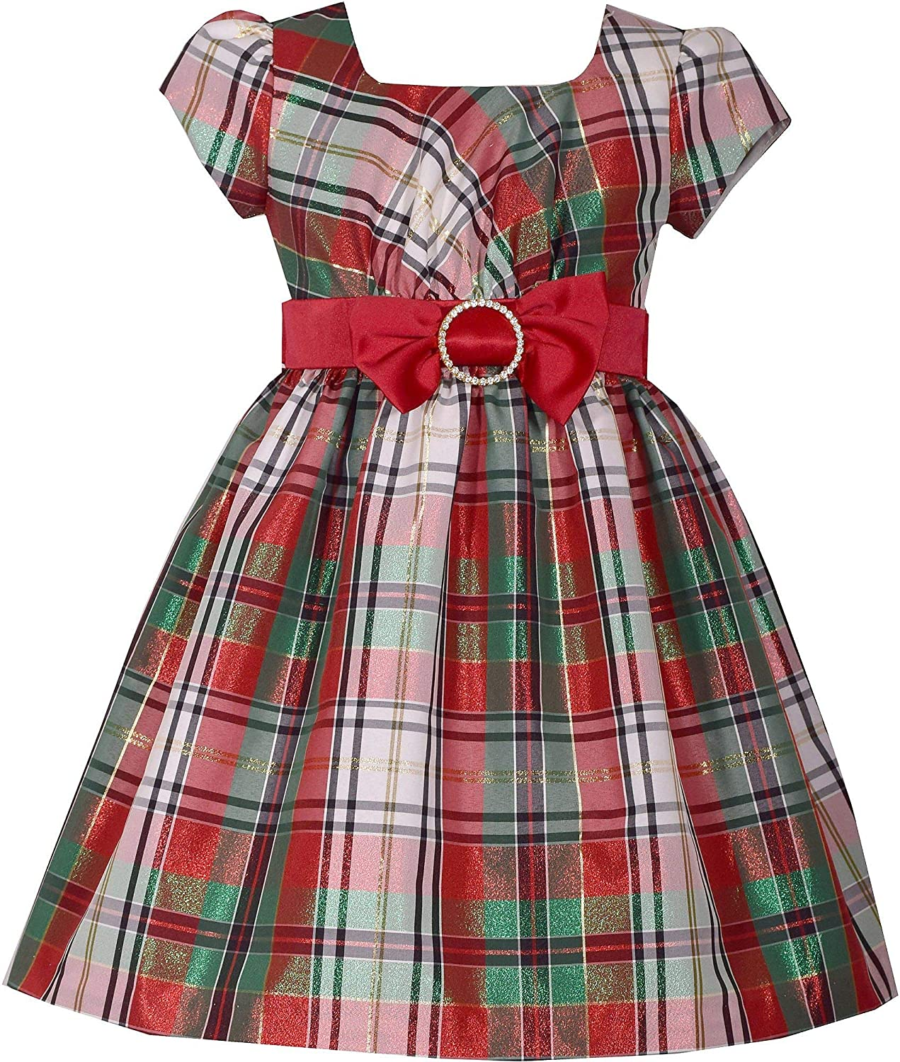 aa5f310fec Amazon.com  Bonnie Jean Short Sleeve Christmas Dress with Red and White  Plaid and Bow at Waist  Clothing