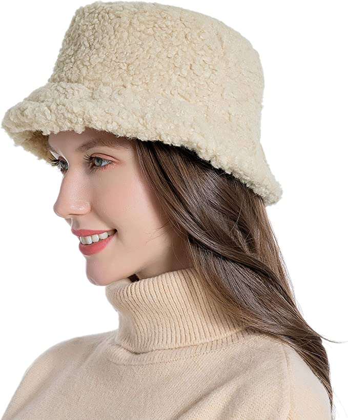 Tea Party Hats – Victorian to 1950s Women Winter Bucket Hat Vintage Cloche Hats Warm Faux Fur Wool Outdoor Fisherman Cap $14.99 AT vintagedancer.com