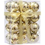 "Sea Team 60mm/2.36"" Delicate Painting & Glittering Shatterproof Christmas Ball Ornaments Decorative Hanging Christmas Ornaments Baubles Set for Xmas Tree - 24 Counts (Gold)"