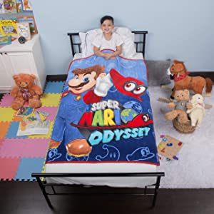 "Franco Kids Bedding Super Soft Plush Microfiber Throw, 46"" x 60"", Mario"