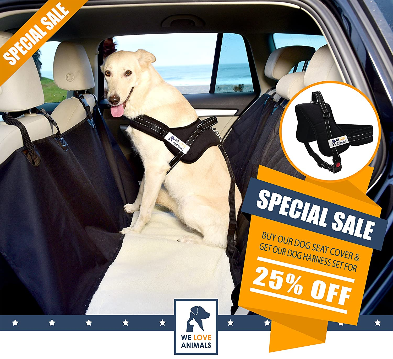 Dog Car Seat Cover - We Love Animals