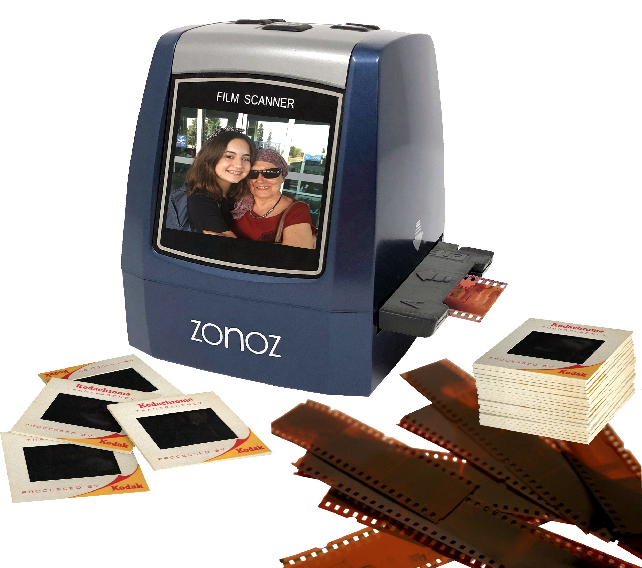 ZONOZ FS-3 22MP All-in-1 Film & Slide Converter Scanner w/Speed-Load Adapters for 35mm, 126, 110 Negative & Slides, Super 8 Films - Includes Worldwide Voltage 110V/240V AC Adapter (Blue) by zonoz