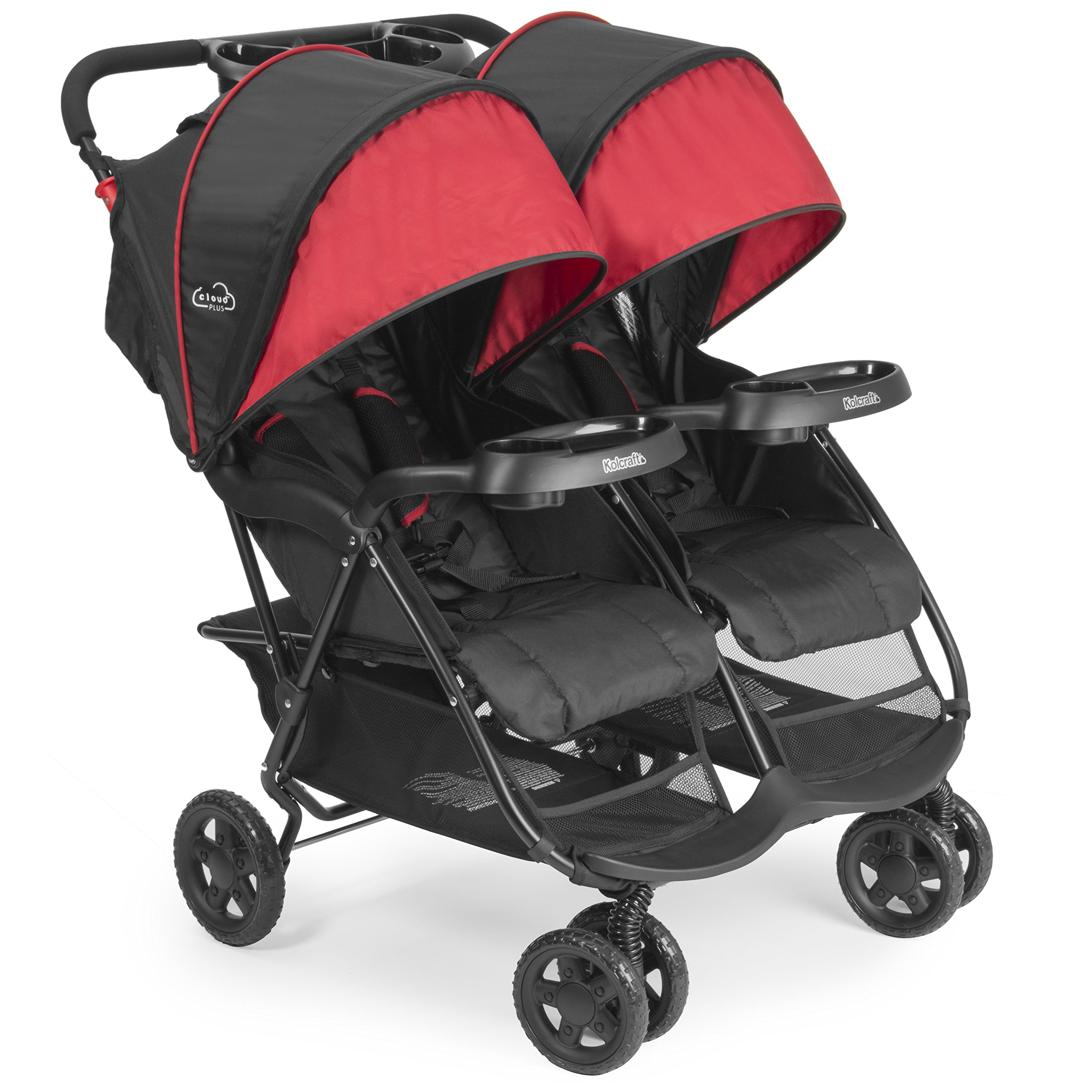 Kolcraft Cloud Plus Lightweight Double Stroller - 5-Point Safety System, Red/Black by Kolcraft