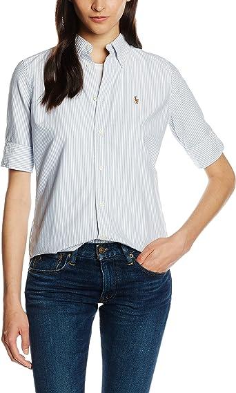 Polo Ralph Lauren SS Jenny Shirt Camisa, Multicolor (BSR Blue/White), 36 (Talla del Fabricante: XS) para Mujer: Amazon.es: Ropa y accesorios