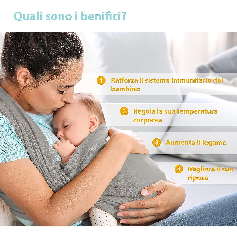 Marsupio Per Neonati e Beb/è fino a 15kg Grigio DearBaby 0-36 mesi Fascia Porta Bambino Ergonomica Cotone Leggero e Traspirante Unisex -