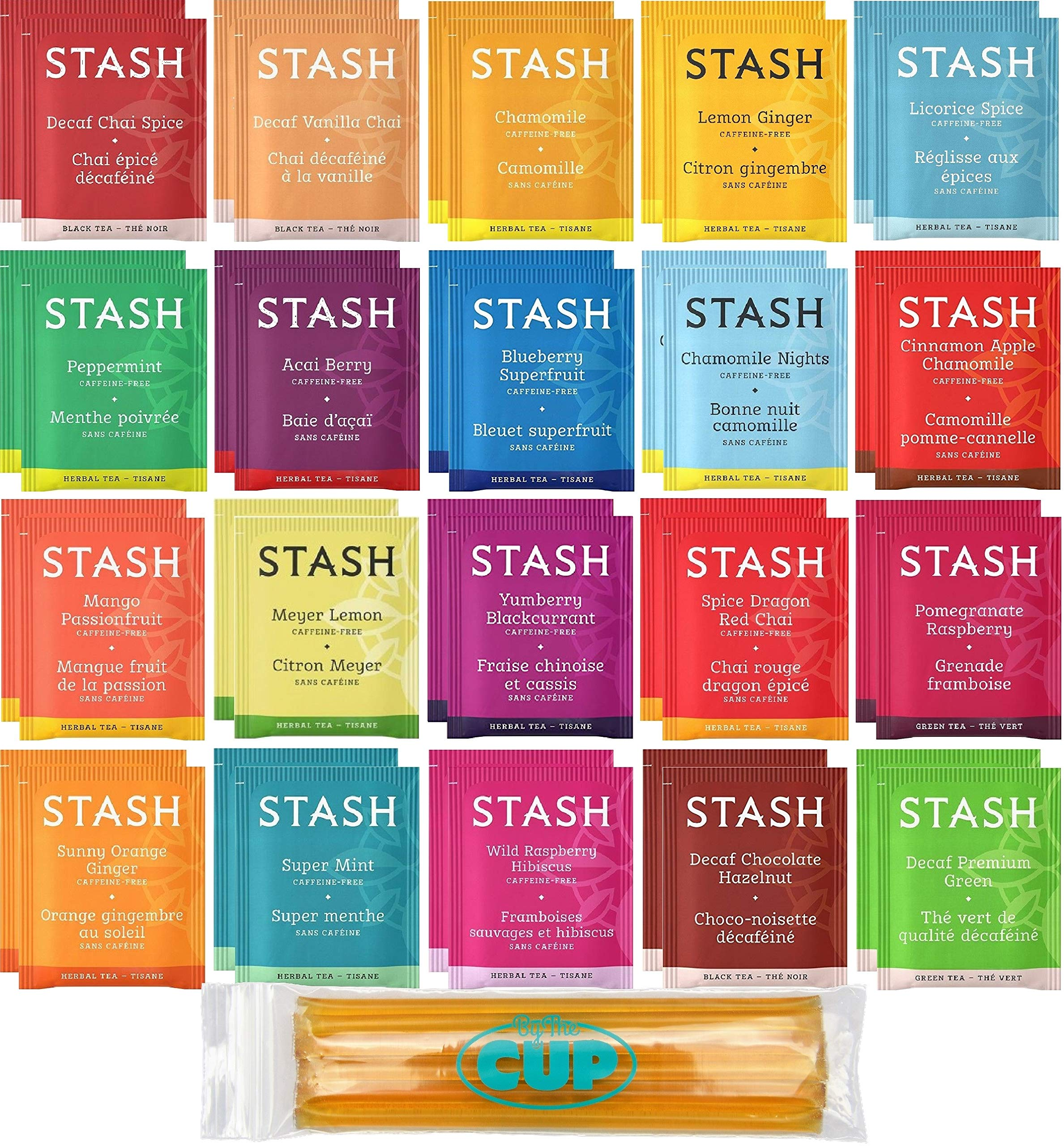 Stash Herbal & Decaf Tea Sampler - 40 Tea Bag, 20 Flavor Assortment - With By The Cup Honey Sticks by By The Cup