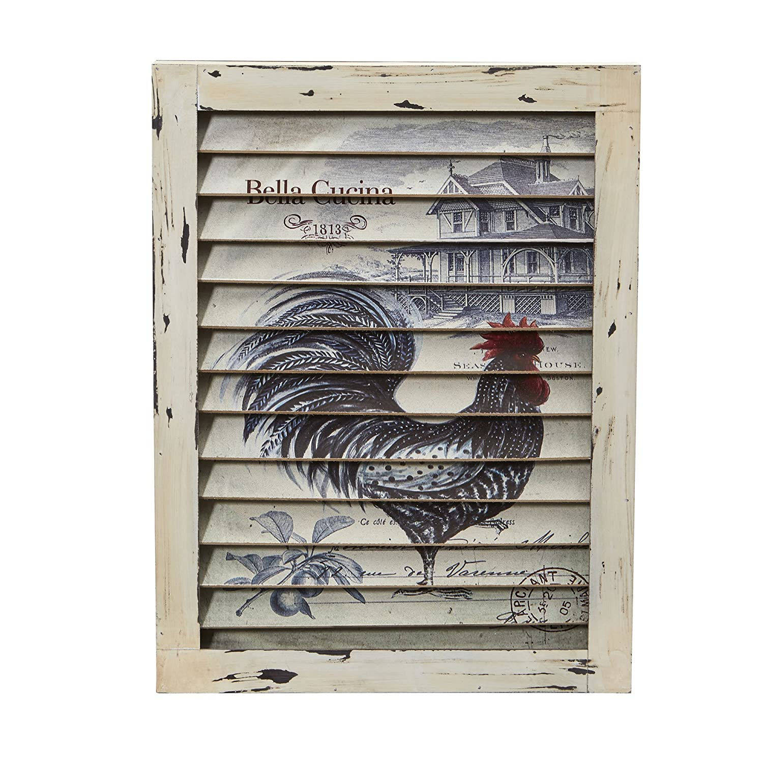 Nearly Natural Rooster Window Shutter Wall Decor, Cream