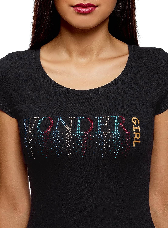 7a19aa0adcc oodji Ultra Femme T-Shirt avec Strass et Encolure Goutte d eau au ...