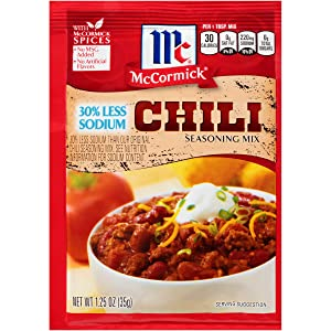 McCormick 30% Less Sodium Chili Seasoning Mix, 1.25 oz (Pack of 12) (Package may vary)
