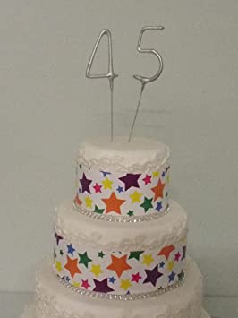 Sparkler Sparkling Number Birthday Cake Candles Age Aged 45 45th