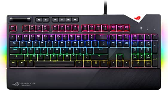 ASUS ROG Strix Flare (Cherry MX Brown) Aura Sync RGB Mechanical Gaming Keyboard with Switches, Customizable Badge, USB Pass Through and Media Controls