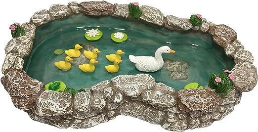 Estanque de Patos - Pata Madre y Patitos. Un Estanque de Patos para Jardín de Hadas en Miniatura y Accesorios para Jardines en Miniatura de GlitZGlam.: Amazon.es: Hogar