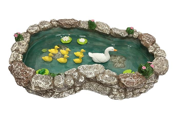 GlitZGlam Duck Pond -Mother and Ducklings! A Miniature Duck Pond for a Miniature Fairy Garden and Miniature Garden Accessories