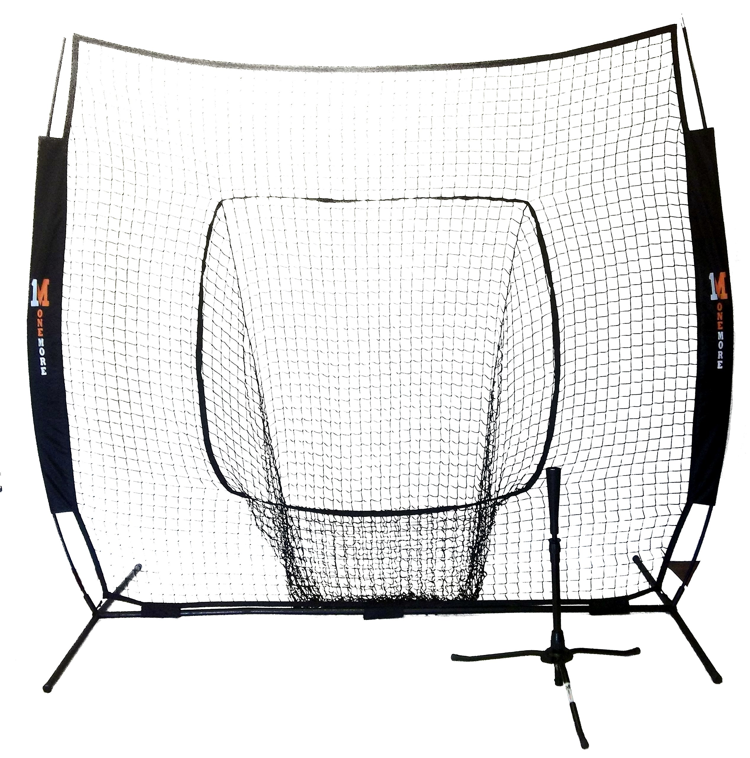 NEW One More 7' x 7' Portable Pop-Up Net & Heavy Duty 6.5lb Tripod Batting Tee Combo Baseball & Softball Hitting Practice by One More