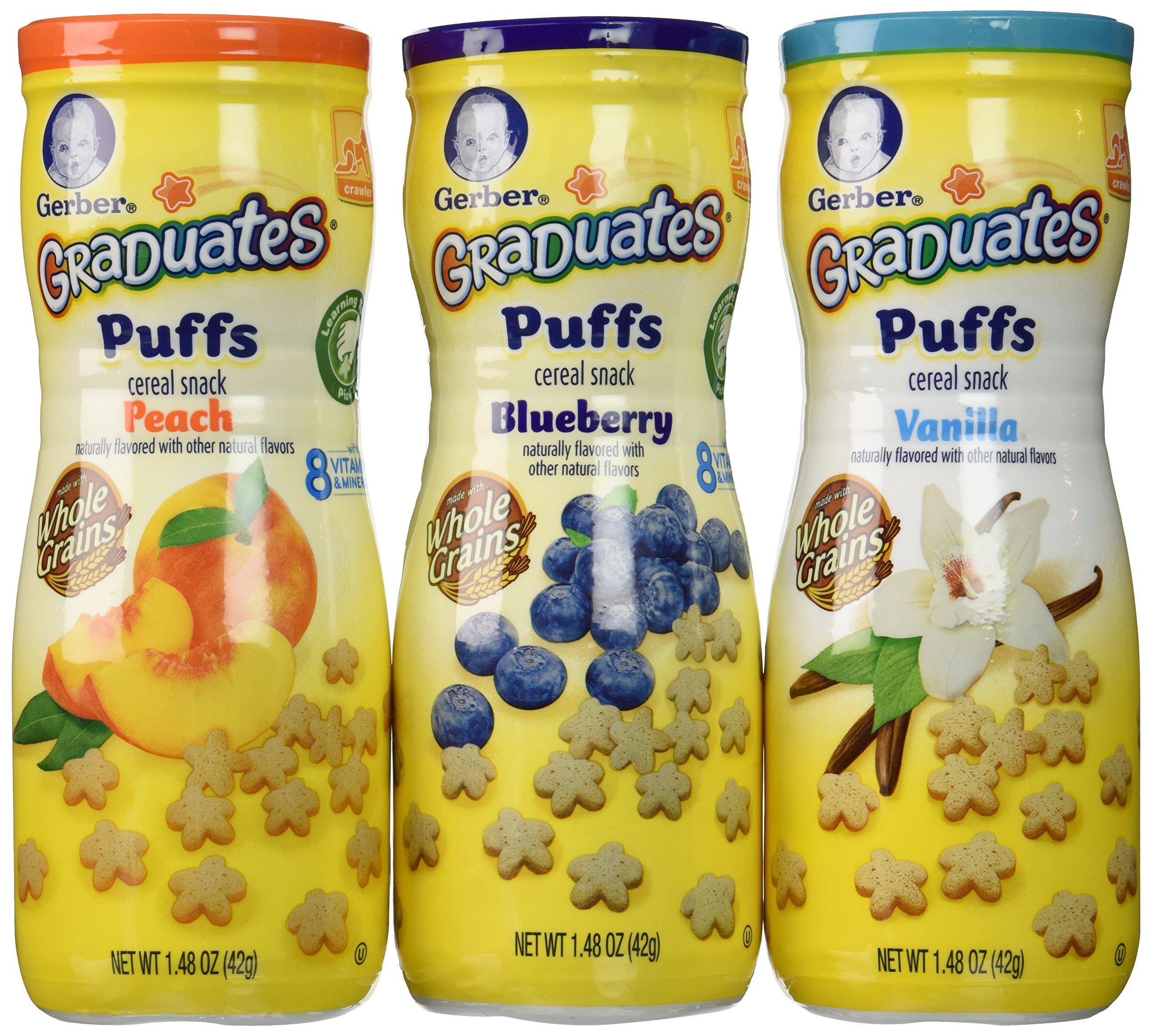 Gerber Graduates Puffs - Variety Pack (Peach, Vanilla, Blueberry) - 1.48 oz - 3 Pack