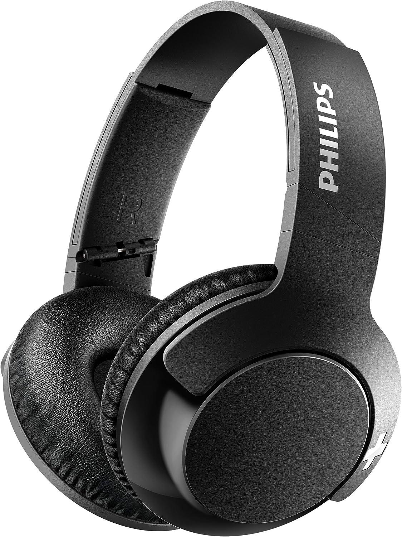 Philips BASS+ SHB3175BK - Auriculares inalambricos (Bluetooth con micrófono, aislantes de ruido, plegables, 13h de reproducción), negro