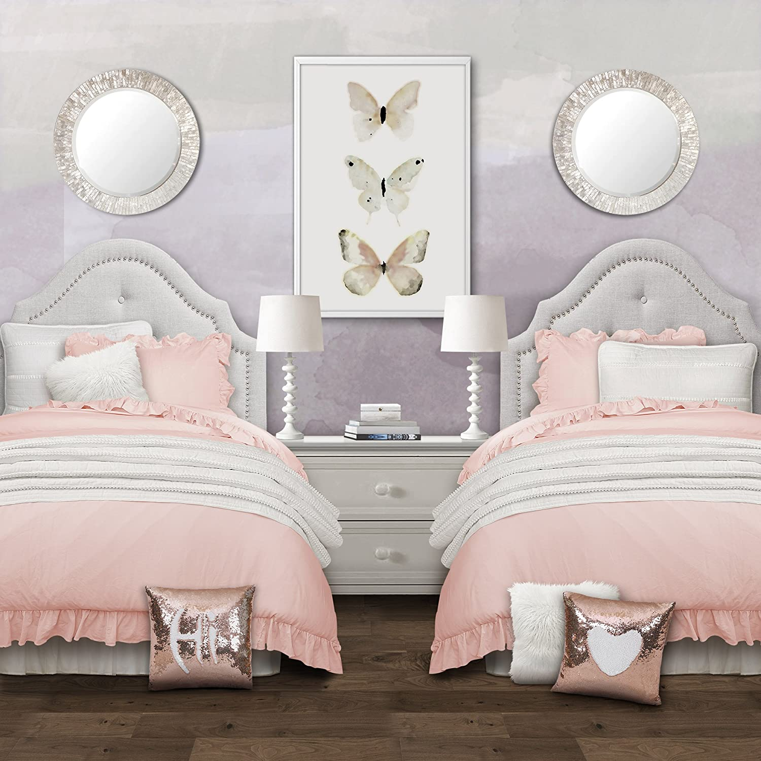 Lush Decor Reyna Comforter Ruffled 3 Piece Bedding Set with Pillow Shams, Full Queen, Blush
