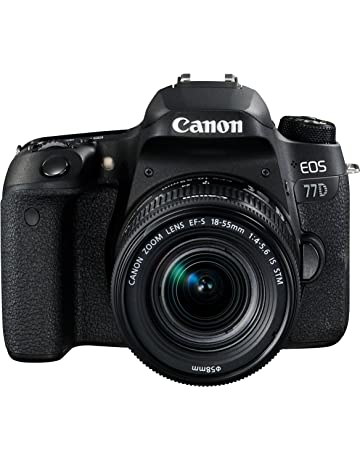 Canon SLR EOS 77D with EF-S 18-55 mm f/4-5.6 IS STM lens - Black